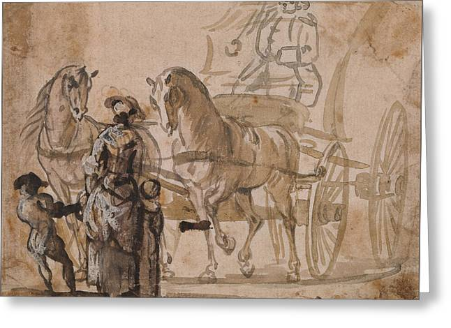 A Carriage And Pair, With Coachman Greeting Card by Paul Sandby
