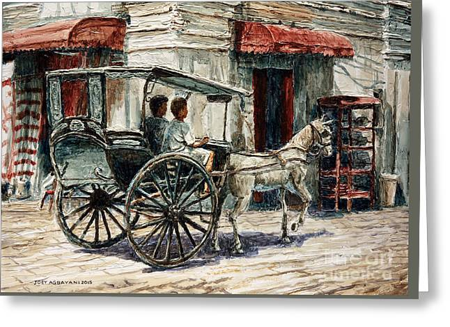 A Carriage On Crisologo Street Greeting Card by Joey Agbayani