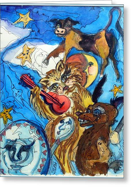 A Cat And A Fiddle Greeting Card by Mindy Newman