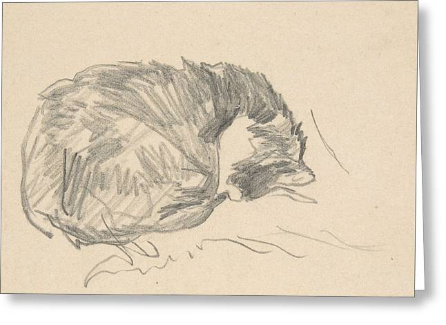 A Cat Curled Up, Sleeping Greeting Card by Edouard Manet