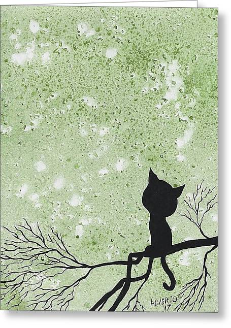 A Cat In A Tree Greeting Card by Edwin Alverio
