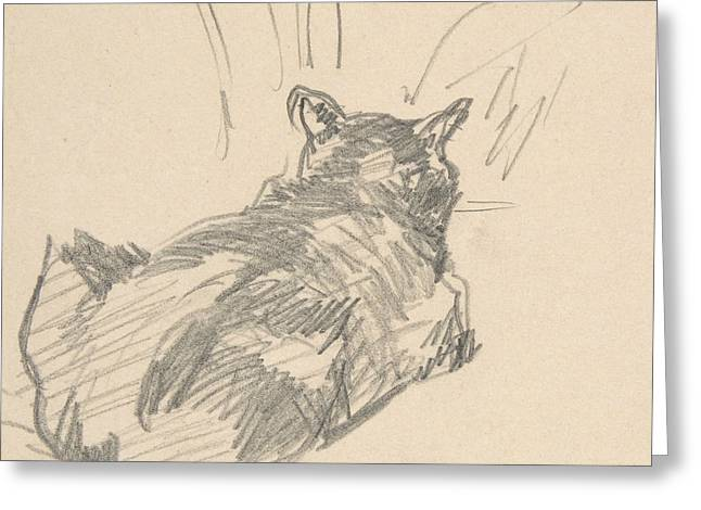 A Cat Resting On All Fours, Seen From Behind Greeting Card by Edouard Manet