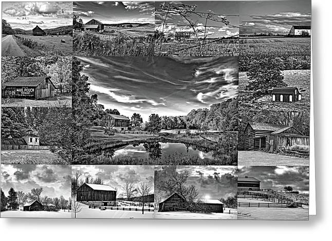 A Celebration Of Barns  Bw Greeting Card