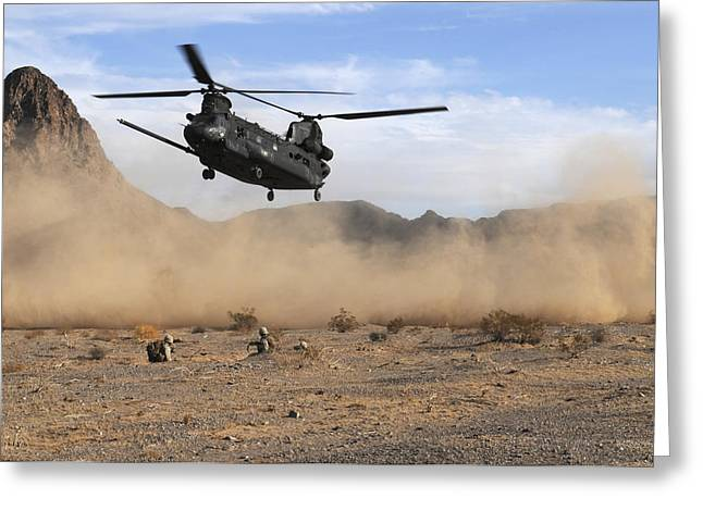 Hovering Greeting Cards - A Ch-47 Chinook Prepares To Land Greeting Card by Stocktrek Images