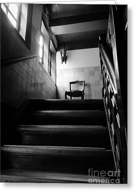 A Chair At The Top Of The Stairway Bw Greeting Card