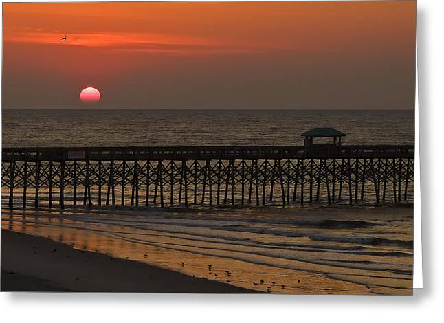 A Charleston Sunrise On The Pier Greeting Card by Michael Whitaker