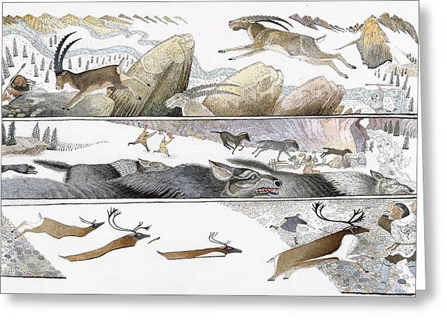 Caribou Greeting Cards - A Chart Illustrates Early Hunting Greeting Card by Jack Unruh
