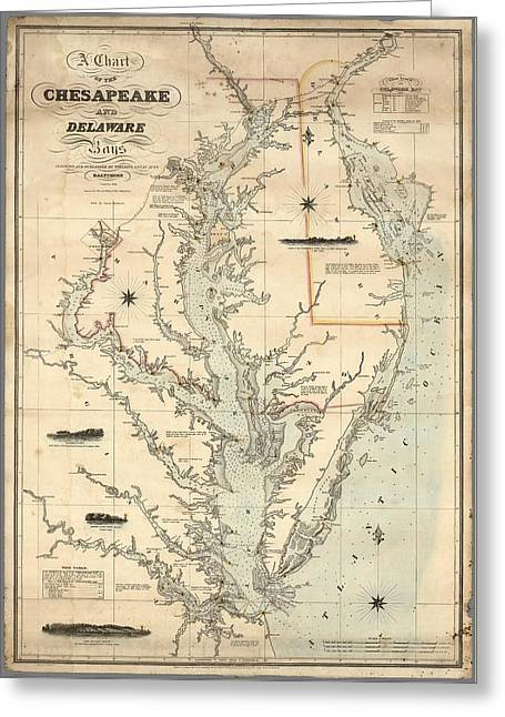 A Chart Of The Chesapeake And Delaware Bays 1862 Greeting Card