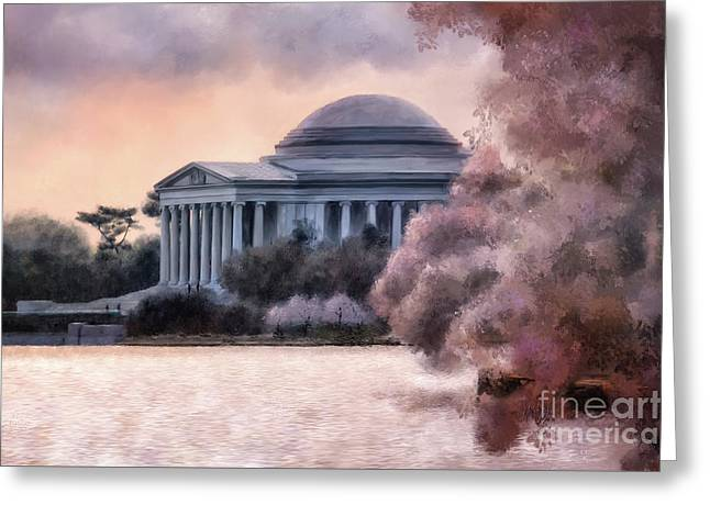Greeting Card featuring the digital art A Cherry Blossom Dawn by Lois Bryan