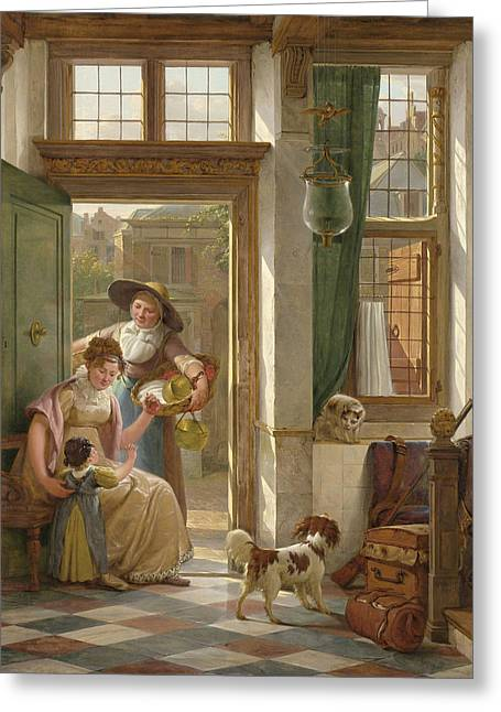 A Cherry Vendor At The Door Greeting Card by Abraham Van Strij
