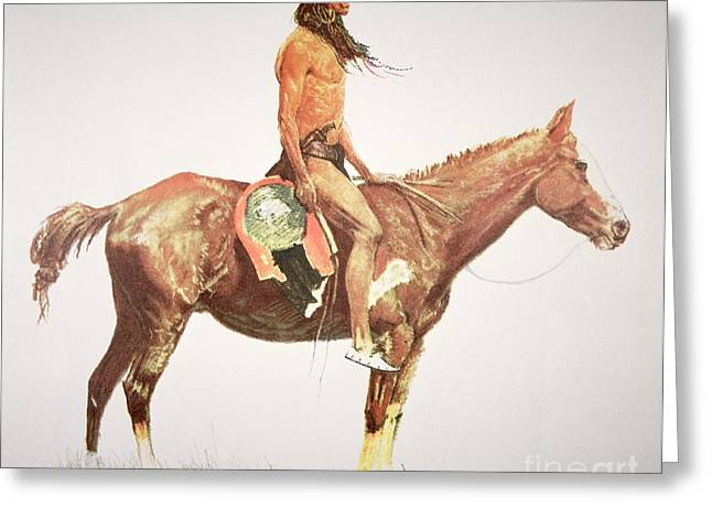 Cloth Greeting Cards - A Cheyenne Brave Greeting Card by Frederic Remington