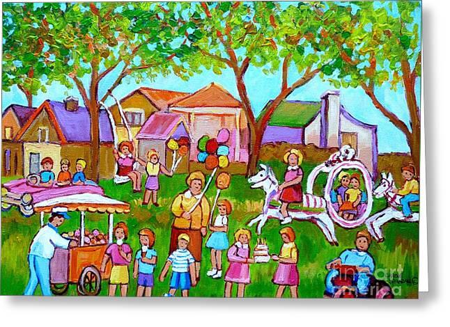 A Child's Birthday Party Backyard Fun Canadian Paintings Carole Spandau Greeting Card by Carole Spandau