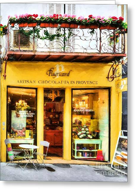 A Chocolate Shop In France Greeting Card by Mel Steinhauer