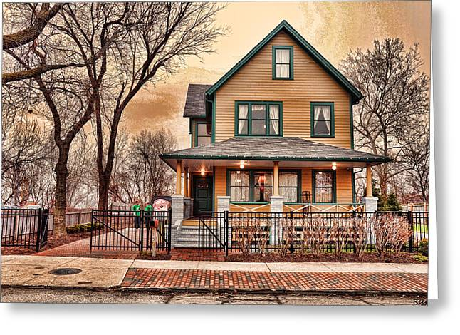A Christmas Story House Greeting Card by Reese Lewis