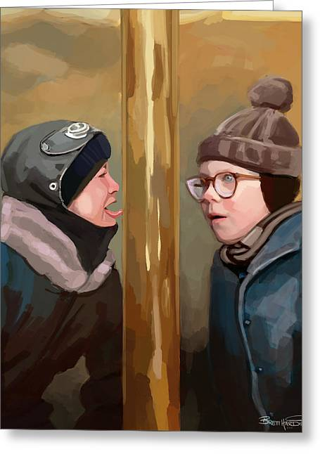 A Christmas Story Tongue Stuck To Pole Greeting Card