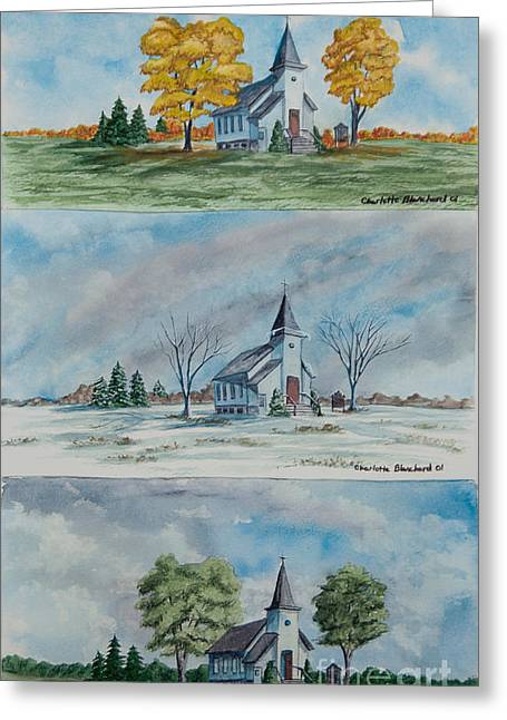 Church Painter Greeting Cards - A Church For All Seasons Greeting Card by Charlotte Blanchard