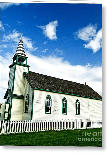 A Church In The Eighteen Hundreds Town Of Fort Steele Bc Canada Greeting Card by Emilio Lovisa