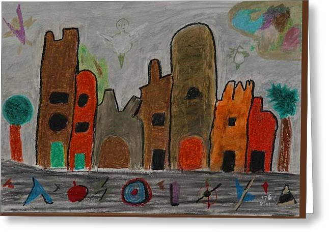 A Child's View Of Downtown Greeting Card by Harris Gulko