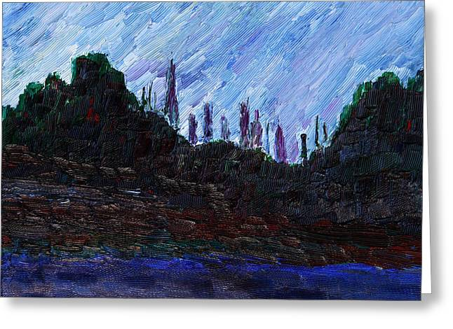 Greeting Card featuring the painting A City That Never Sleeps by Vadim Levin