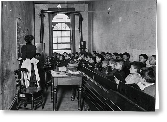 A Class In The Condemned Essex Market School Greeting Card by Celestial Images
