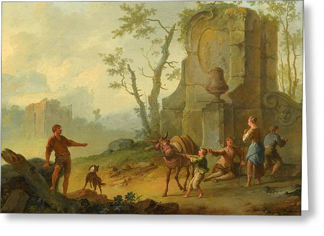 A Classical Landscape With A Family Resting By The Ruins Greeting Card