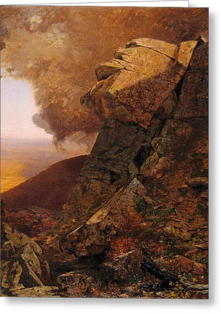 A Cliff In The Catskills Greeting Card by Jervis McEntee