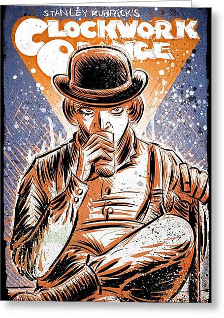 A Clockwork Orange Greeting Card by Joseph Badon