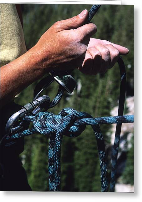 A Close Up Of A Rock Climbers Hands Greeting Card by Bill Hatcher