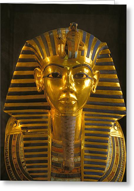 Pharaoh Photographs Greeting Cards - A Close View Of The Gold Funerary Mask Greeting Card by Kenneth Garrett