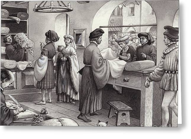 A Cloth Merchant's Shop In Renaissance Italy Greeting Card by Pat Nicolle