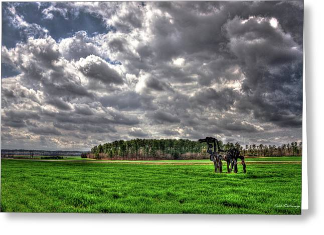 A Cloudy Day Winter Wheat The Iron Horse Art Greeting Card
