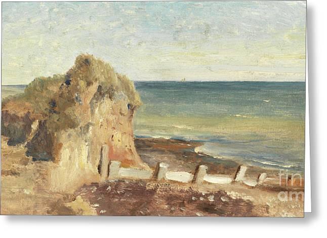 A Coastal Study Greeting Card by George Hemming Mason