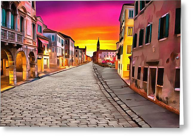 A Cobblestone Street In Venice Greeting Card