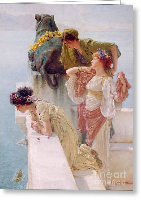 Girl Looking Down Greeting Cards - A Coign of Vantage Greeting Card by Sir Lawrence Alma-Tadema