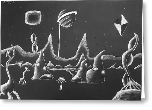 A Cold Night On The Edge Of Reality Upon The Glow Of Saturn Greeting Card