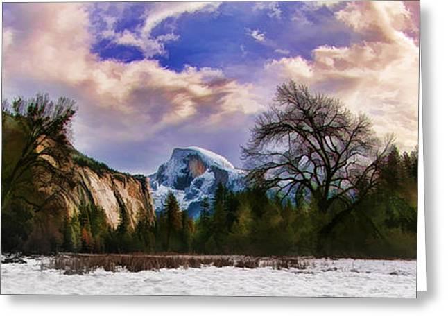A Cold Yosemite Half Dome Morning Greeting Card