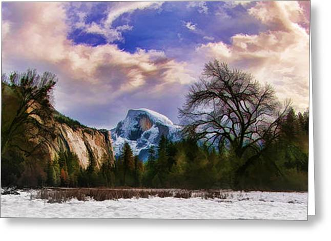A Cold Yosemite Half Dome Morning Greeting Card