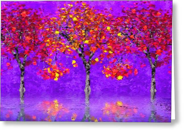 A Colorful Autumn Rainy Day Greeting Card by Gabriella Weninger - David