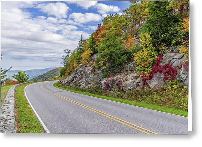 Greeting Card featuring the photograph A Colorful Curve On Skyline Drive by Lori Coleman
