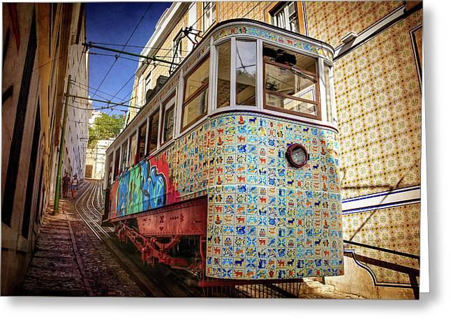 A Colorful Lisbon Tram  Greeting Card