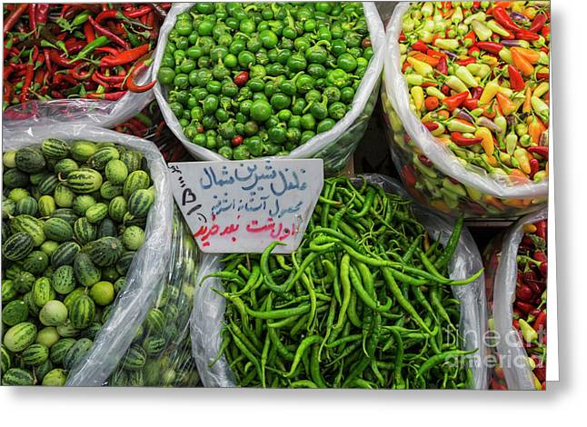 A Colorful Mix Of The Freshest Chili And Bell Peppers Greeting Card