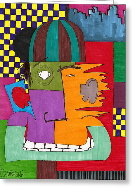 Greeting Card featuring the drawing A Colorful Yet Checkered Past by Teddy Campagna
