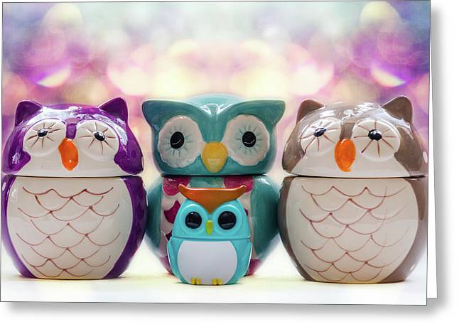 A Colourful Parliament Of Owls Greeting Card by Martina Fagan