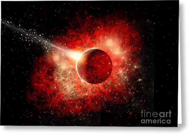 A Comet Hitting An Alien World Greeting Card by Mark Stevenson