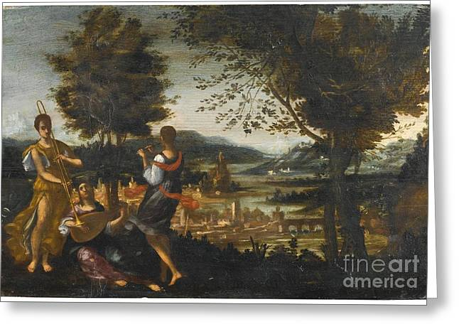 A Concert In A Landscape Greeting Card by MotionAge Designs
