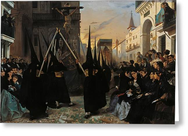 A Confraternity Along Calle Genova Seville Greeting Card by Alfred Dehodencq