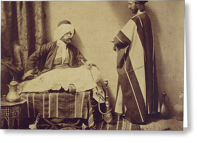 A Conversation While Smoking, 1858 Greeting Card by Roger Fenton