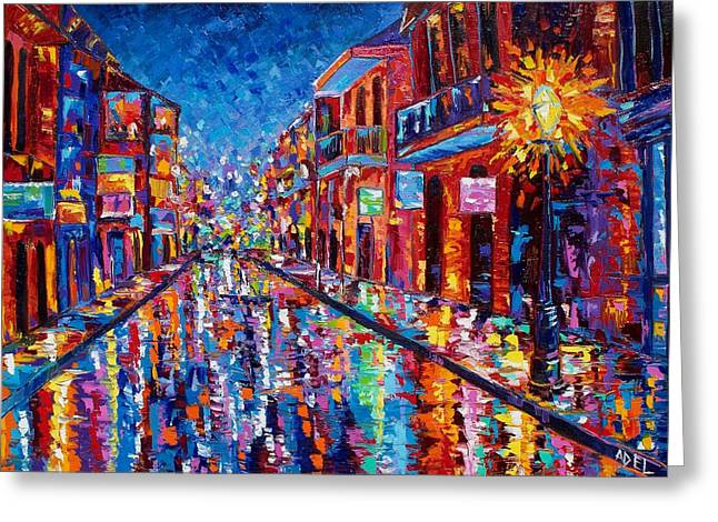 A Cool Night On Bourbon Street Greeting Card