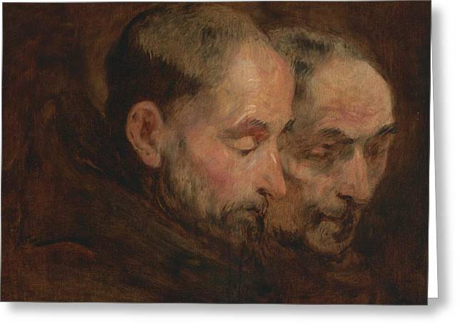 A Copy After A Painting Traditionally Attributed To Van Dyck Of Two Monks Read Greeting Card by Thomas Gainsborough
