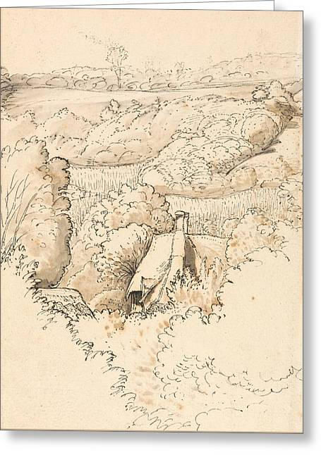 A Cottage Among Trees, Shoreham Greeting Card by Samuel Palmer